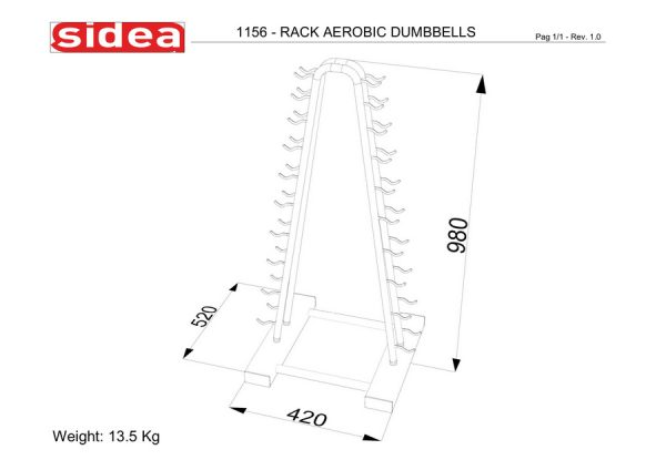 1156 - Rack Aerobic Dumbbells