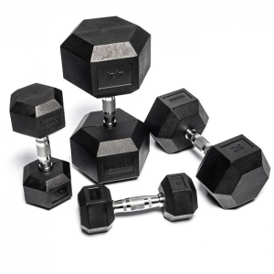 8904-8950 Hex Black Rubber Dumbbells