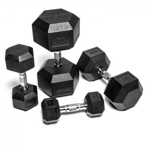 8904-8950 Hex Black Rubber Dumbbells