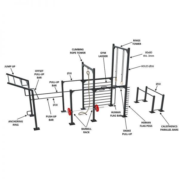 9090 Calisthenics rack model 1
