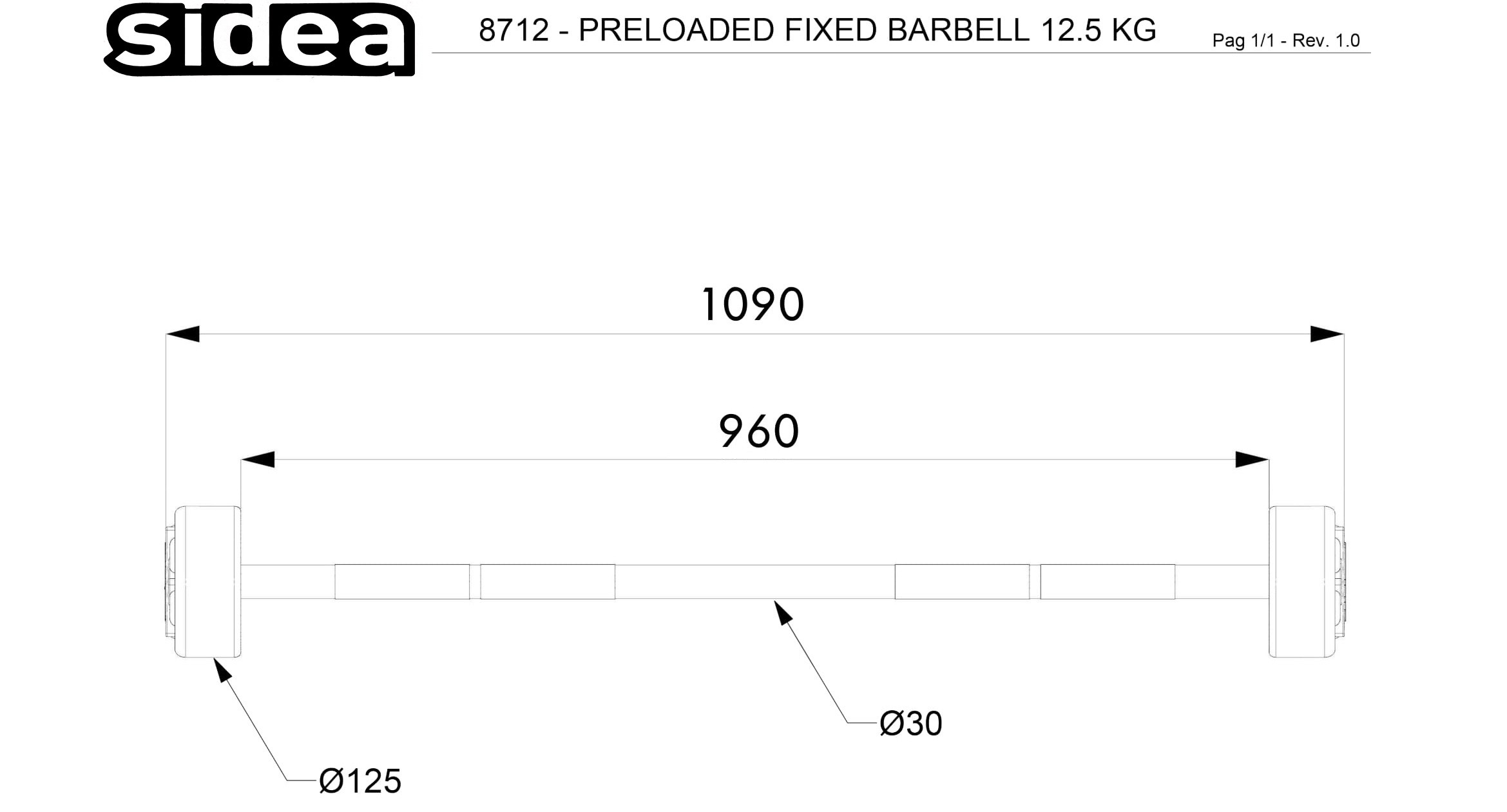 8712 - Preloaded Fixed Barbell 12.5Kg-1-NEW