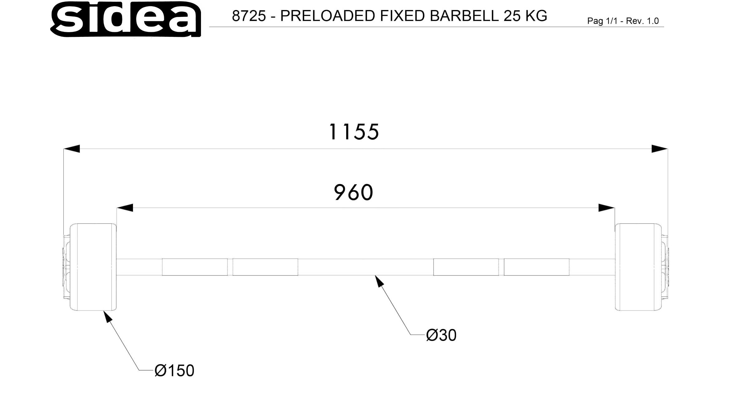 8725 - Preloaded Fixed Barbell 25Kg-1