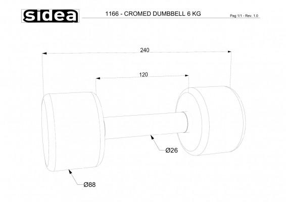 1166 - Cromed Dumbbell 6Kg-1