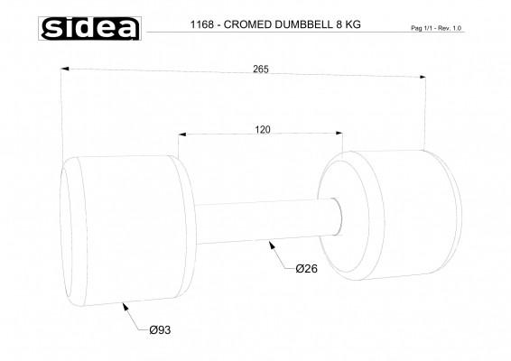 1168 - Cromed Dumbbell 8Kg-1