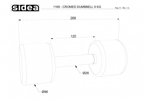 1169 - Cromed Dumbbell 9Kg-1